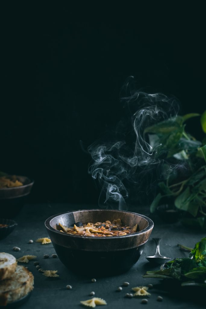 Steaming bowl of Curried Pasta e Fagioli