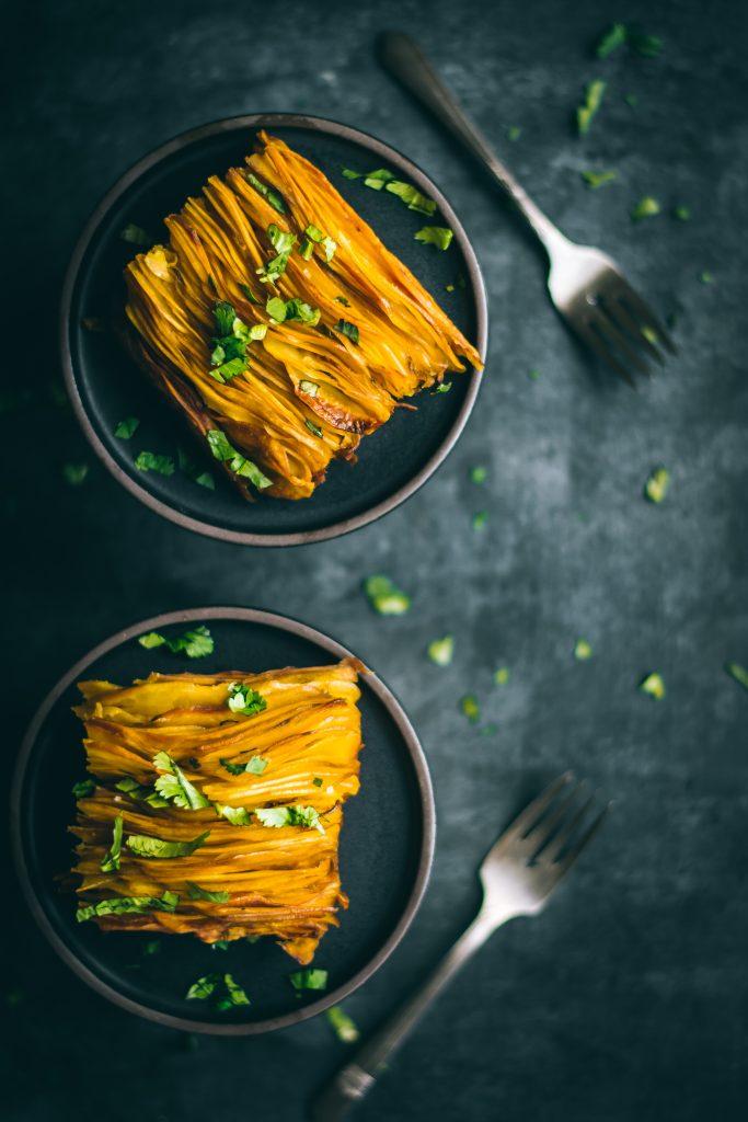 VEGAN Crispy Masala Leaf potatoes