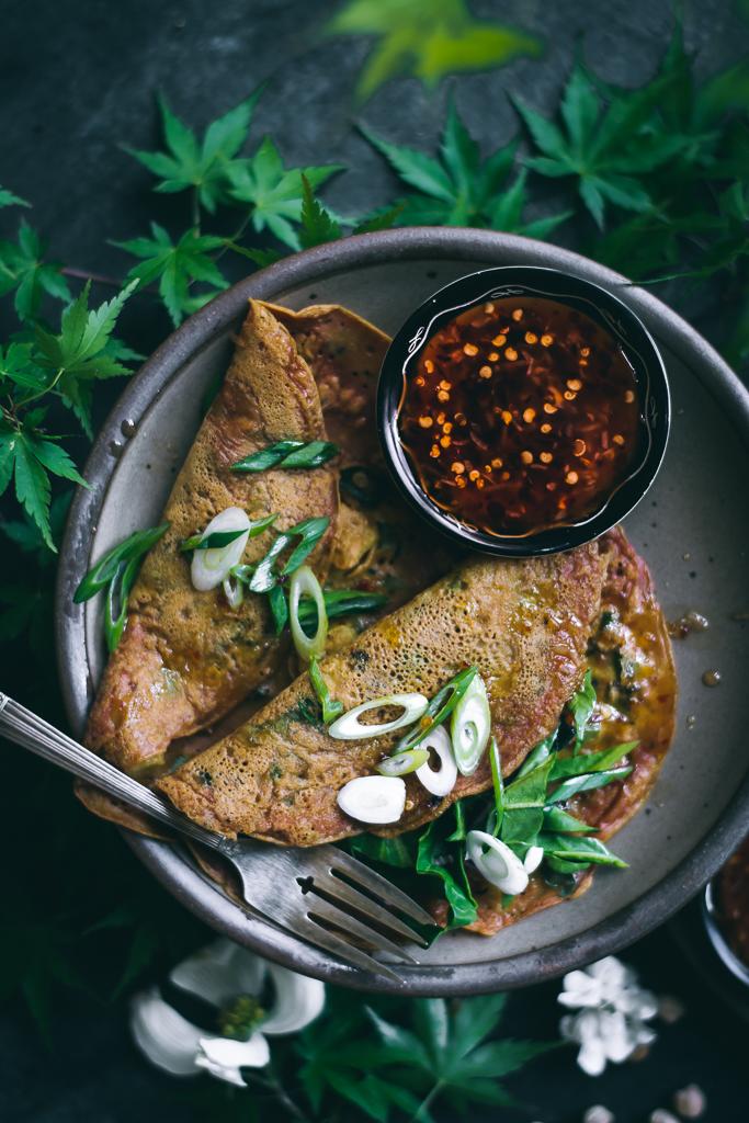 VEGAN Savory Chickpea Pancakes