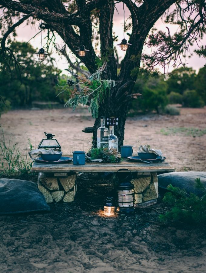 Sunset Tablescape in the remote Utah desert wilderness. Hanging greenery installation centerpiece.