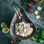 VEGAN Lychee Ceviche flavored with citrus, green chilli, mint, onions & ginger, it's a delicious plant-based alternative.