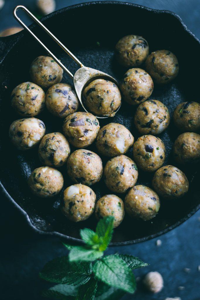 Mint flavored potato stuffing for Fried Squash Blossom