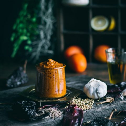 Homemade Harissa with ingredients