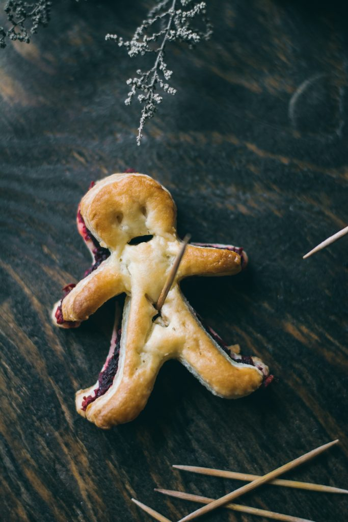 VEGAN Puff pastry Voodoo Dolls with a bloody 'beet' filling