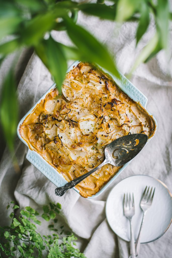 Scalloped Potato Casserole w/ low carb Cauliflower sauce