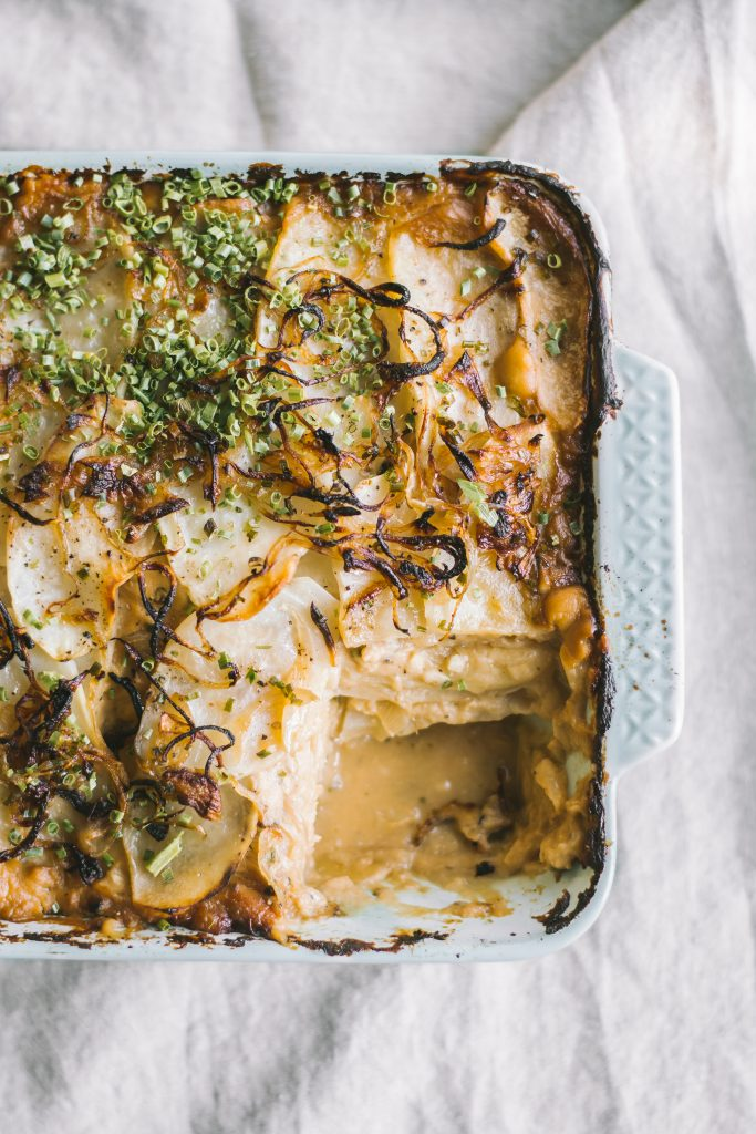 Scalloped Potato Casserole w/ low carb Cauliflower sauce