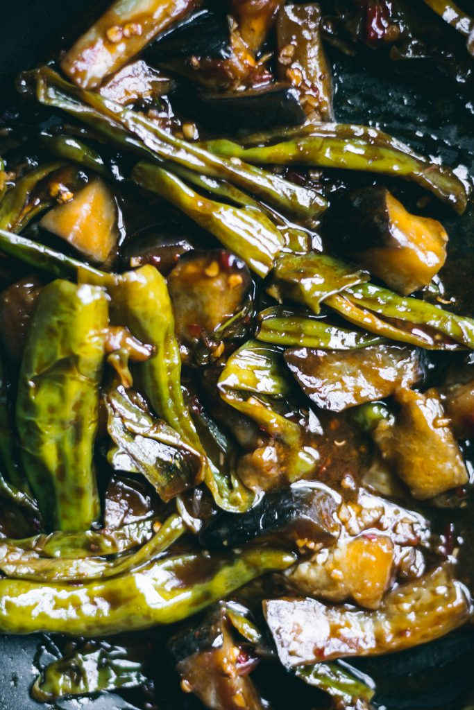Schezwan Eggplant and Shishito Peppers Stir-fry
