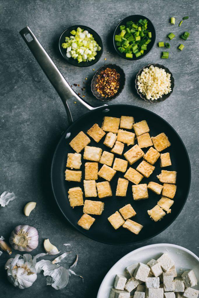 Crispy Tofu for making the Chilli Garlic Tofu