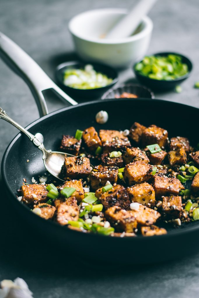 Crispy Chilli Garlic Tofu in pan
