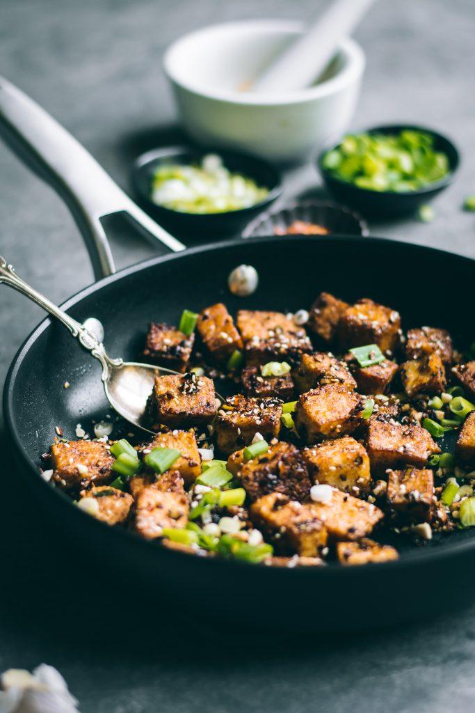 Crispy Chilli Garlic Tofu in pan