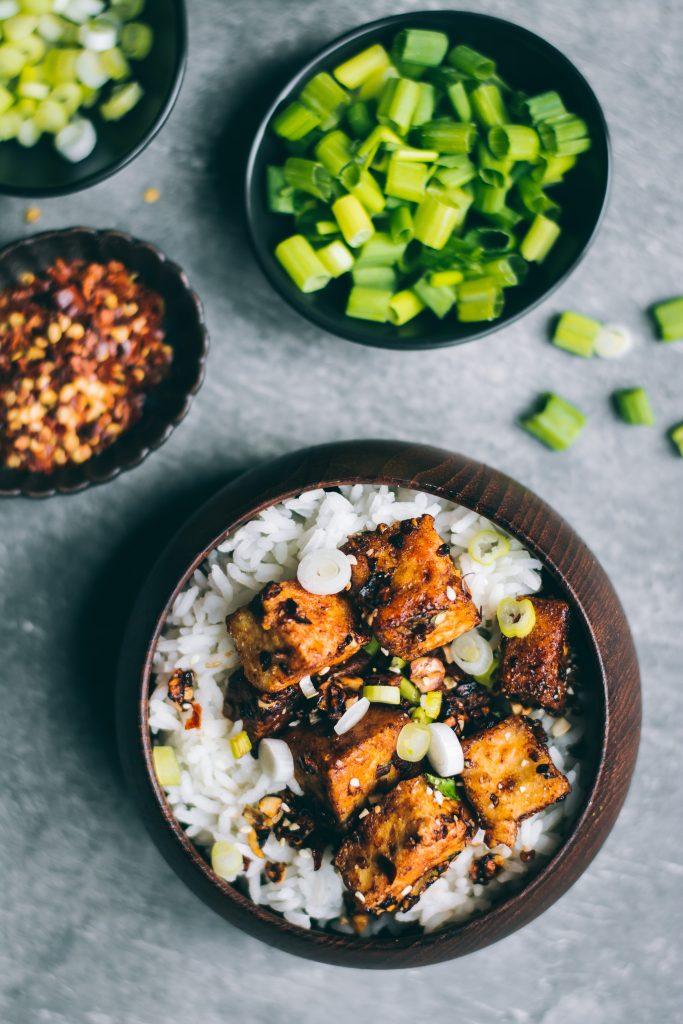 Crispy Chilli Garlic Tofu on a bowl of rice