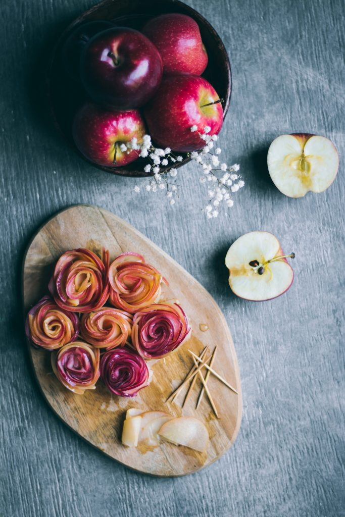 Apple Roses on a chopping board