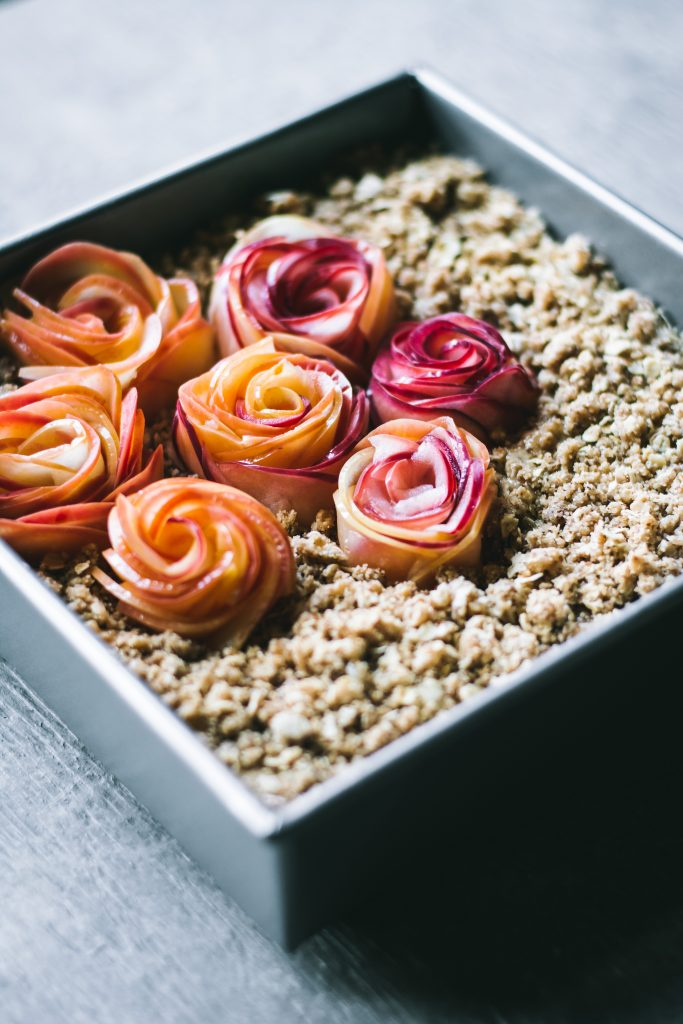VEGAN Apple Crumb Cake with apple roses ready to go into the oven