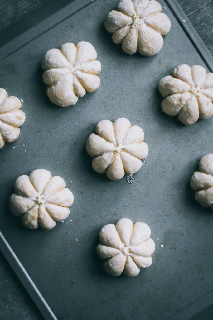 VEGAN Pumpkin Shaped Rolls ready to bake