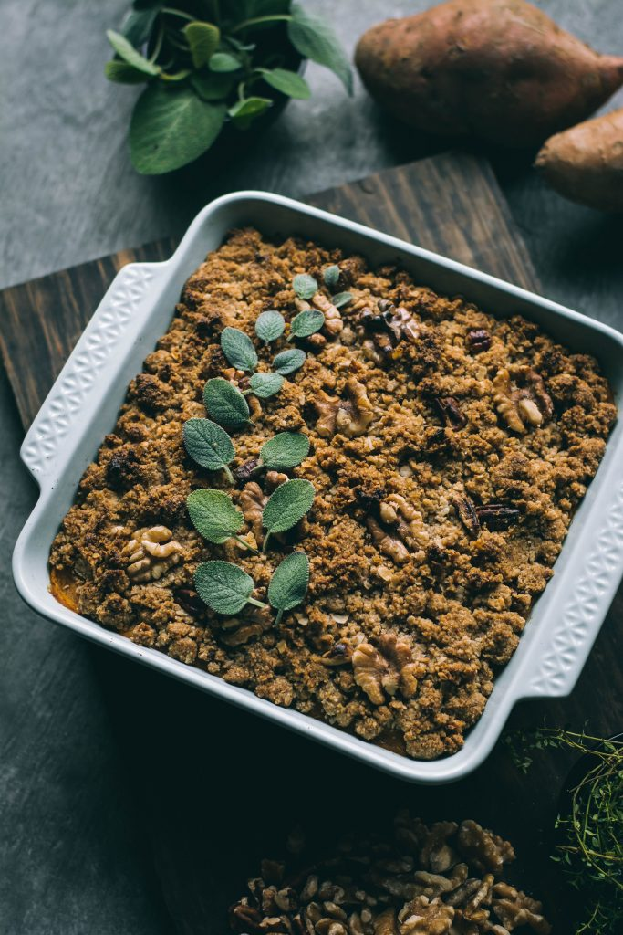 Sweet Potato Casserole hot from the oven