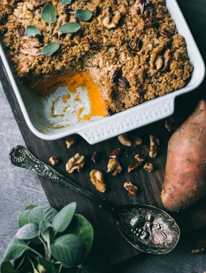 Sweet Potato Casserole with a little scooped out