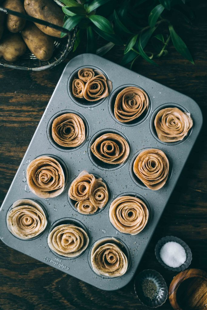 Potato Roses in the making for VEGAN Potato Rose Tart