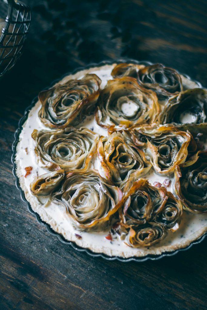 VEGAN Potato Rose Tart about to be baked