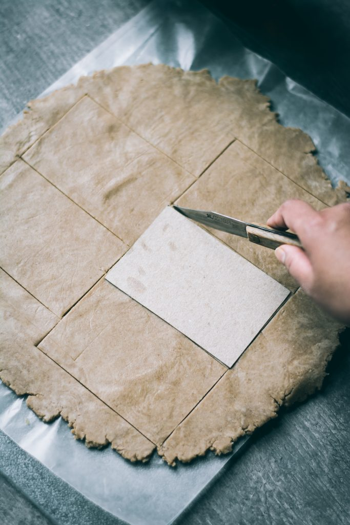 Cutting Teff pastry for Teff Strawberry Pop Tarts